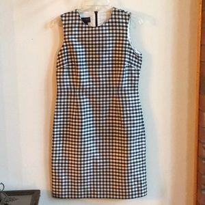 Ralph Lauren Blue Gingham Check Silk Dress 10
